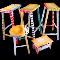 Eileen Nolan Kressel - Four Stools & a Foot Rest, Scuplture, Mixed Media