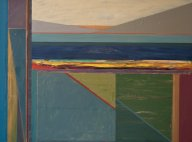 "Gary Anderson - Green Triangle Landscape, Acrylic on Canvas, 36"" x 48"""