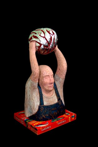 Thomas Rude - Fisher Man, Wood Sculpture