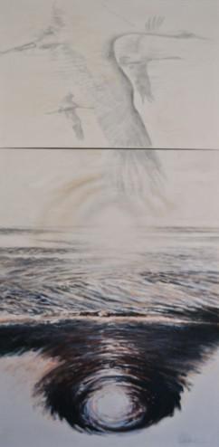 Jan Shield - Passage, Acrylic on Canvas (diptych) 6' x 3'