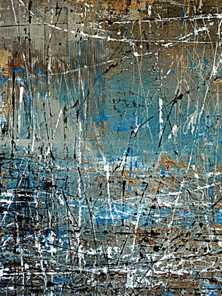 "Tangie Pape Belmore - Blue Thicket, Acrylice & Mixed Media, 48"" X 60"""