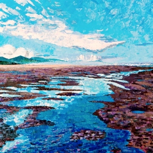 Alice Wanke Stephens - Morning Low Tide at Neahkahnie, Acrylic on Linen