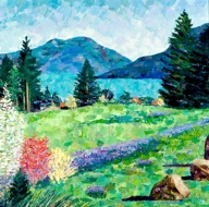 Alice Wanke Stephens - Columbia River Spring, Acrylic on Linen
