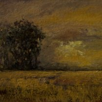 Sandee Burman - Golden Skies, oil on board