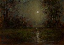Sandee Burman - Moonlight, oil on board