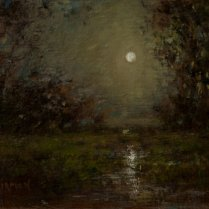 Sandee Burman - Moonlight, oil on board