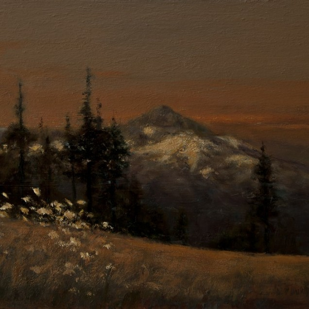 Sandee Burman - Mount Hood - Day's End, oil on board