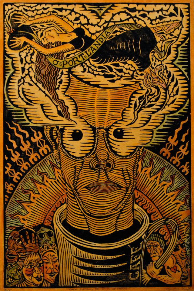 "Artist - Thomas Rude, ""Cafe: Clearing the Vision of Dreams"" - Linocut"