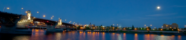 Vince Ferguson - Burnside Bridge and Supermoon (Panoramic) - Digital Image